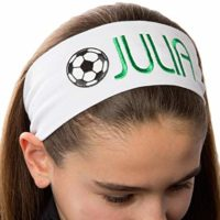 Personalized Monogrammed Embroidered Soccer Ball Patch Cotton Stretch Headband