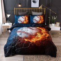 Baseball with Fire Print Bedding Set