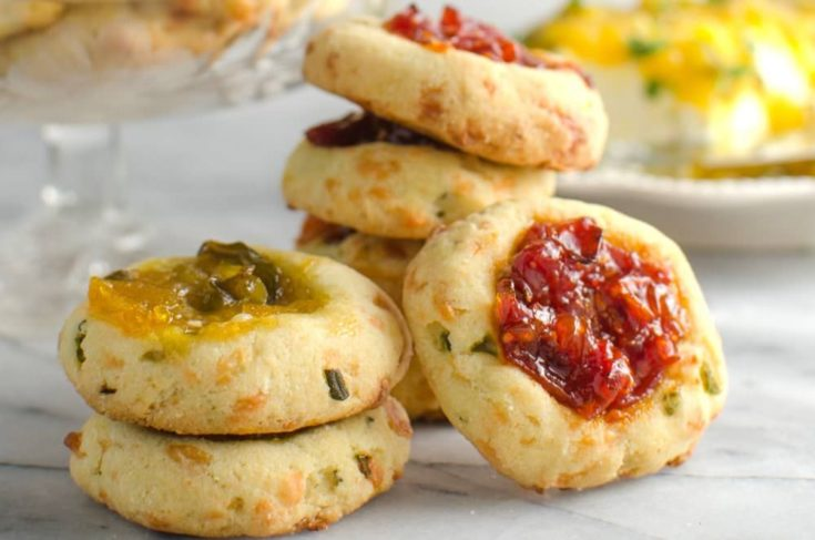 Savory Cheese Thumbprint Cookies with Bourbon Tomato Jam