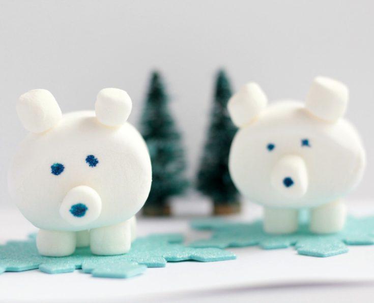 Easy 3D Edible Marshmallow Polar Bear Craft for Kids