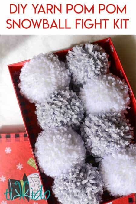 Easy Kid Craft Yarn Pom Pom Snowball Fight Kit