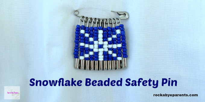 Snowflake Beaded Safety Pin - An Easy Winter Kid Craft