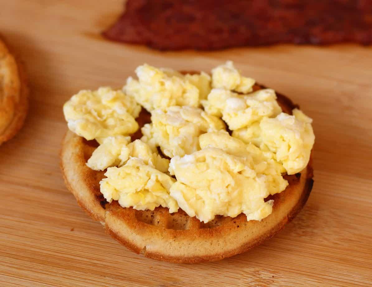 eggs on a van's gluten free waffle