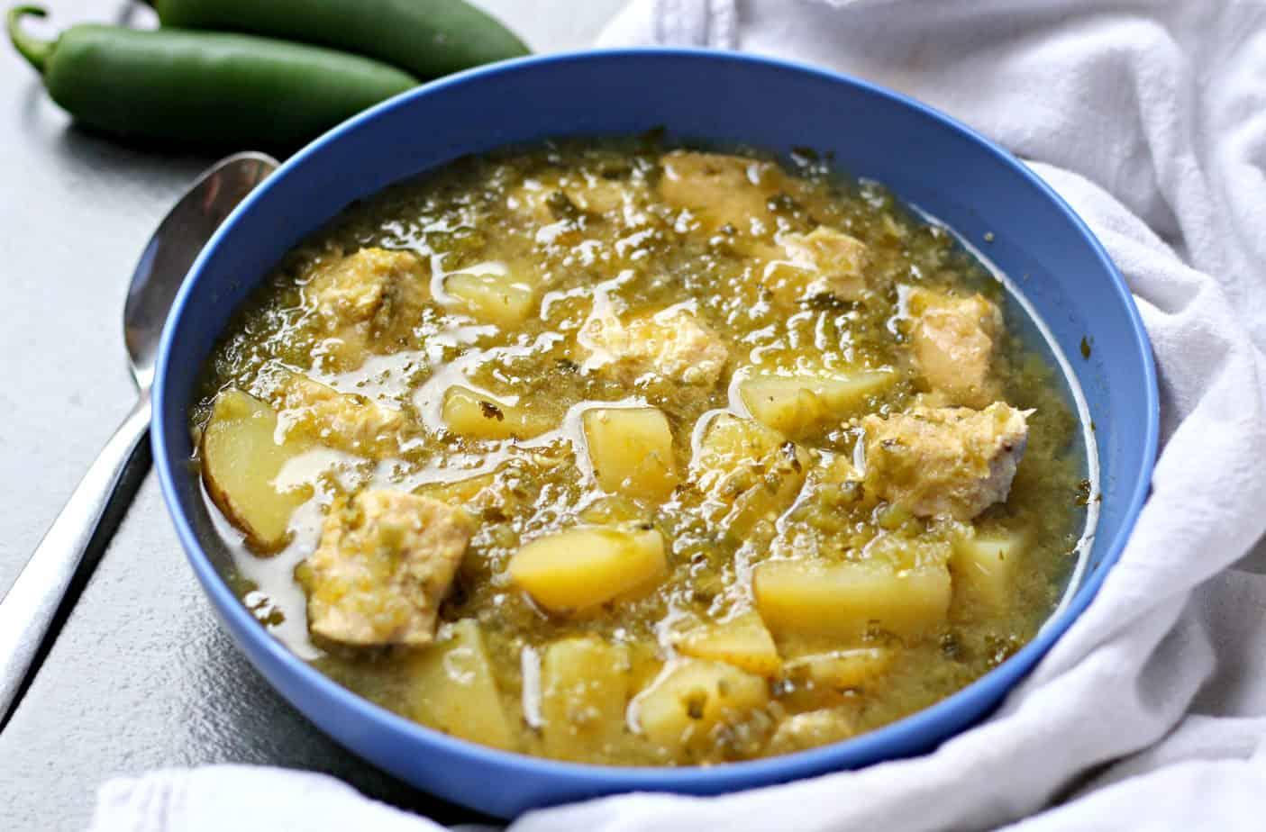 crock pot chicken verde with potatoes