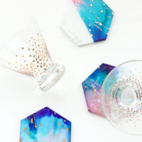 Galaxy Color Blocked Marble Coasters
