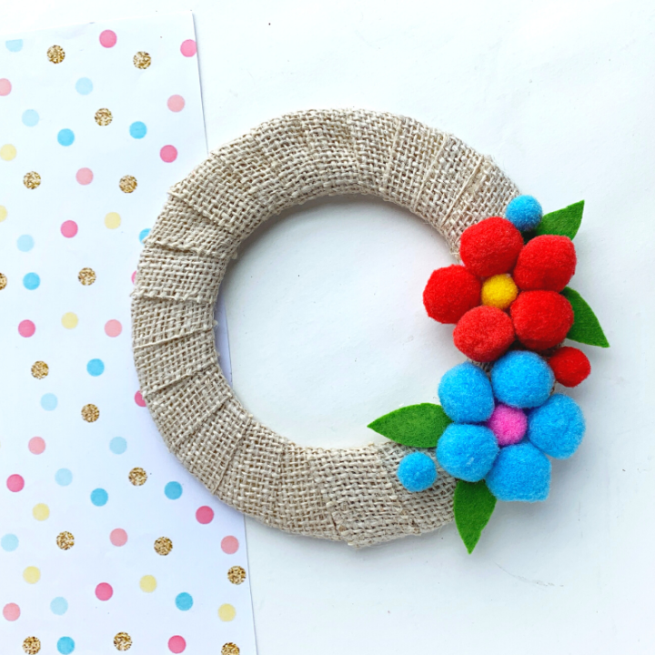 Flower Pom Pom Wreath DIY Craft