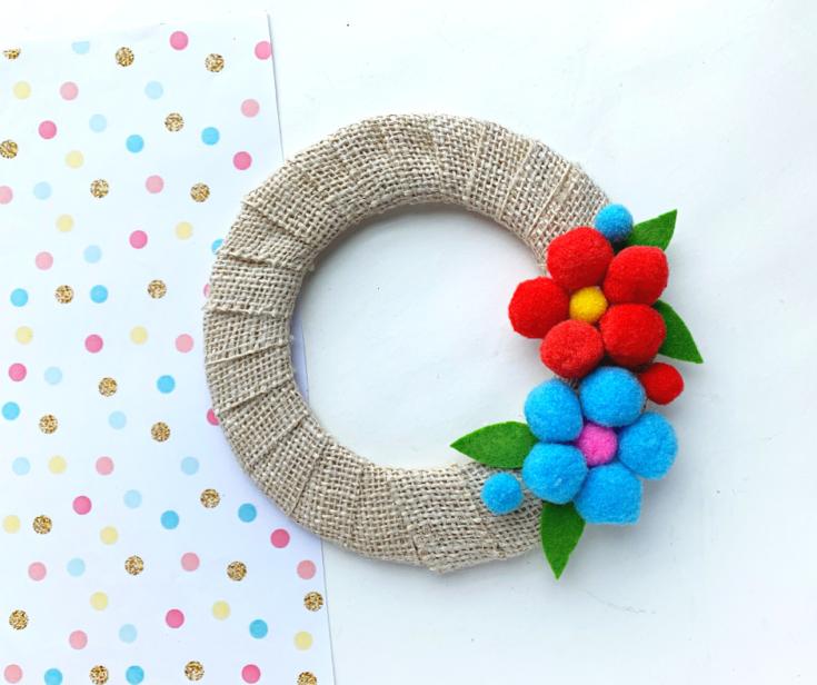 Flower Pom Pom Wreath DIY Craft Tutorial