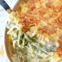 Cheesy Shrimp and Asparagus Casserole with Fried Onion Topping