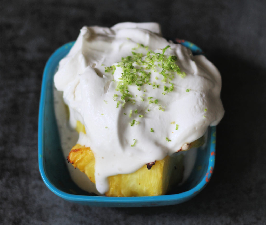 air fryer pineapple with coconut whipped cream pina colada