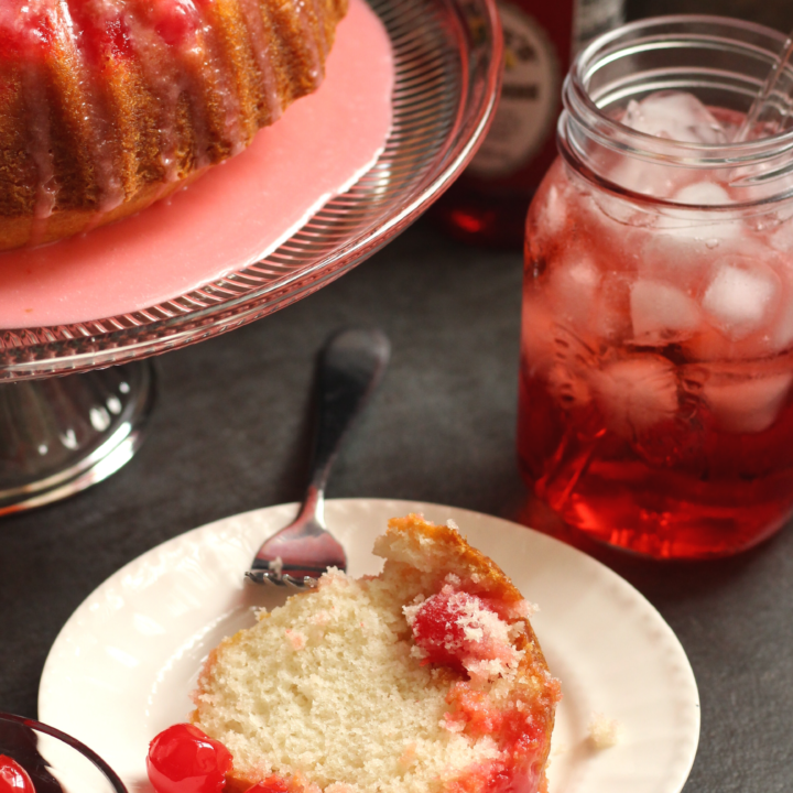 Easy Shirley Temple Cake with Grenadine Glaze