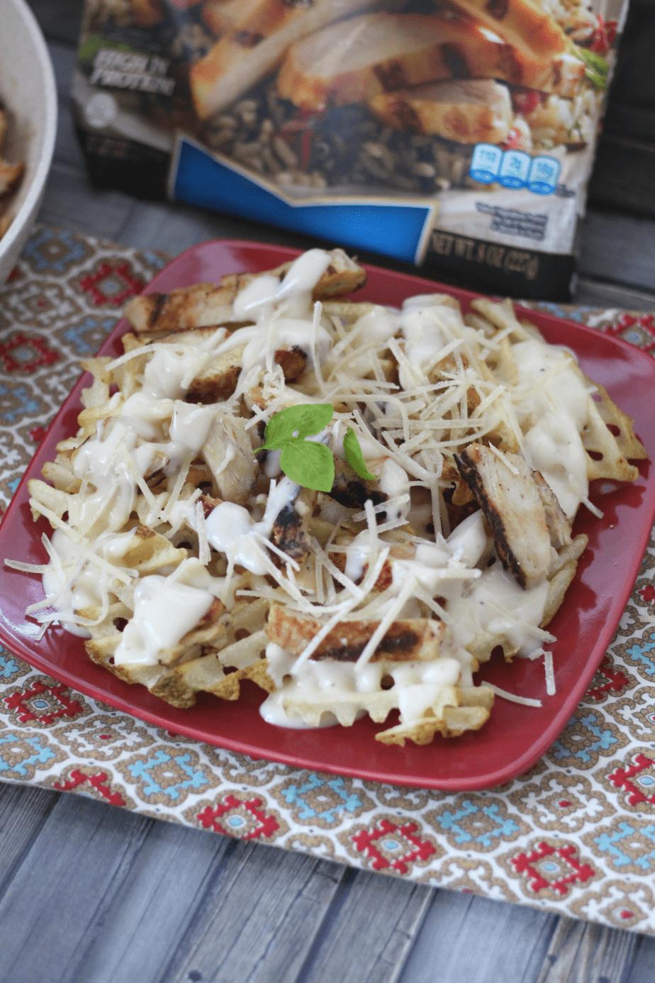 Grilled Chicken Alfredo Fries