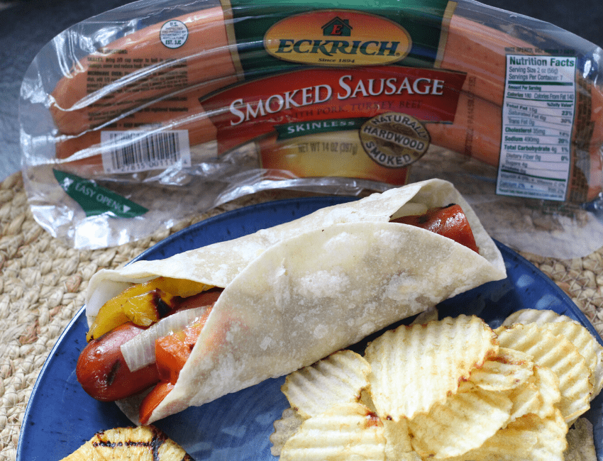 Eckrich smoked sausage - Grilled Sausage Wrap with Veggies
