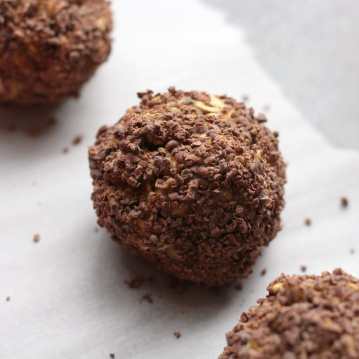 Chocolate Coated Peanut Butter Balls with Oatmeal